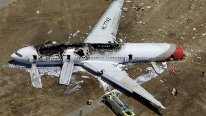 An Asiana Airlines plane crashes while landing 6 July 2013.