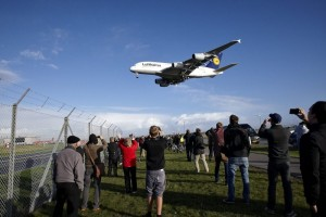 Plane spotters gathered at Kastrup airport
